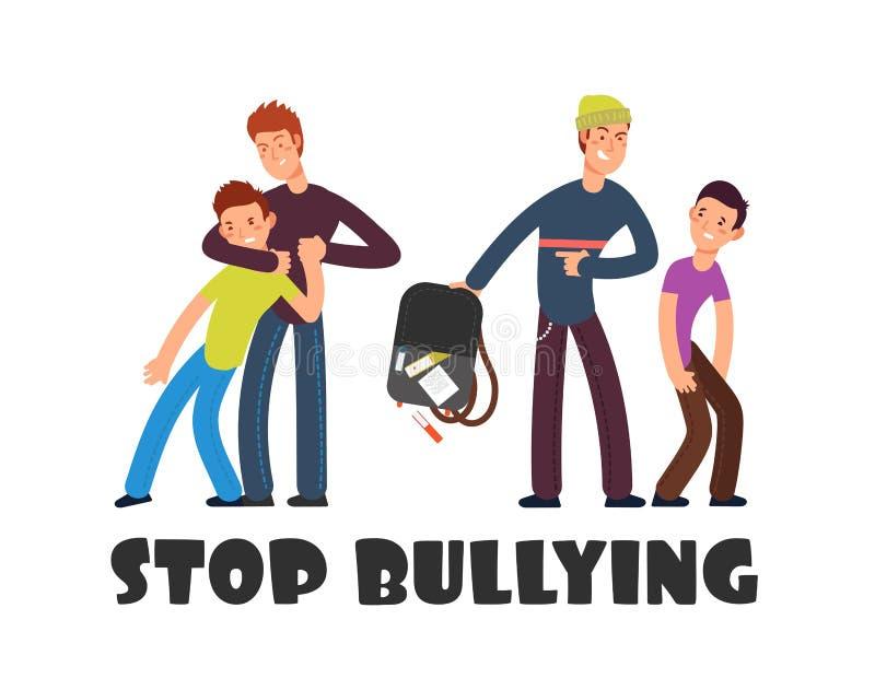 Pare de tiranizar o conceito Criança insolúvel triste Pessoas e vítima negativas Fundo social do vetor dos problemas ilustração stock