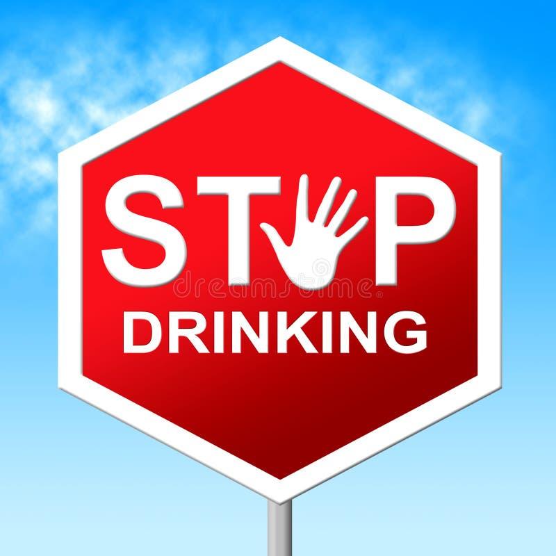 Pare el beber del bebedor serio de los medios y bebido stock de ilustración