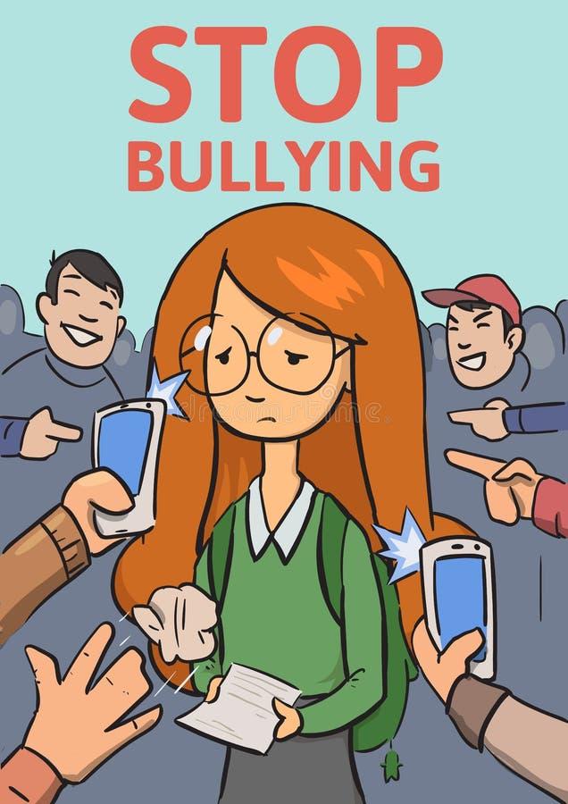 Pare el cartel que tiraniza de la escuela Teléfonos y fingeres que señalan en la colegiala rodeada riendo a matones Plano colorea libre illustration