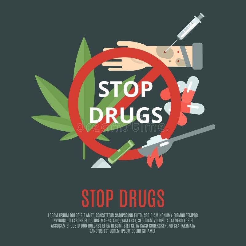 Pare el concepto de las drogas stock de ilustración