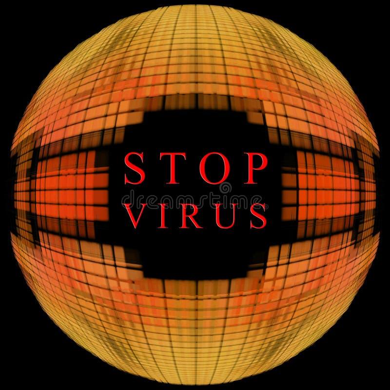 Pare el concepto del virus Forma anaranjada del globo en fondo negro con t libre illustration