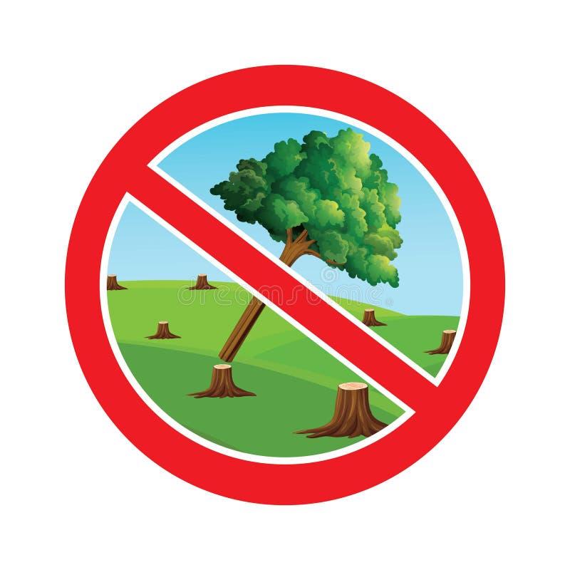 Pare el cortar de símbolo de los árboles ilustración del vector