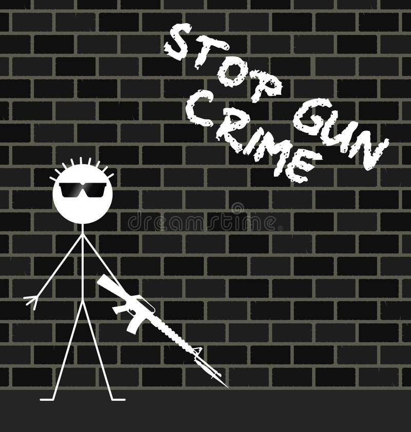 Pare el crimen del arma ilustración del vector