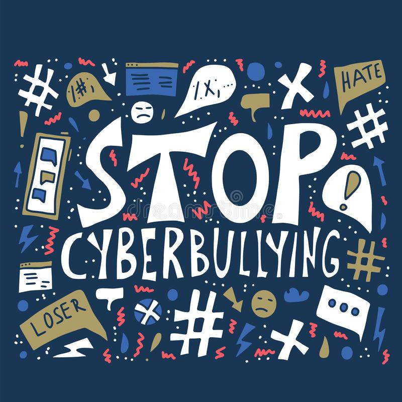 Pare el cyberbullying de cita Concepto del vector desing libre illustration