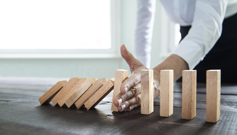 Pare el efecto de domin? imágenes de archivo libres de regalías