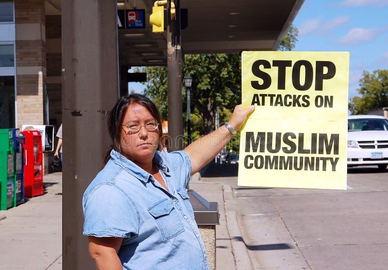 Pare el fanatismo de los anti-Musulmanes foto de archivo