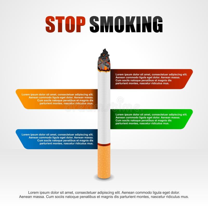 Pare el fumar de los cigarrillos infographic stock de ilustración
