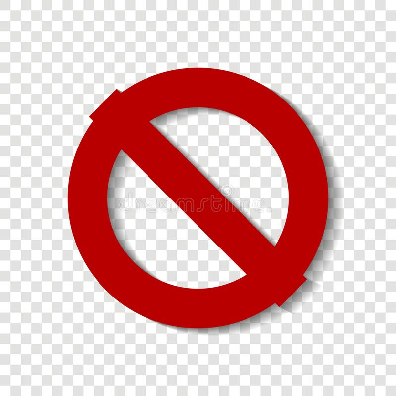 Pare el icono del vector El círculo cruzado-hacia fuera Muestra roja de la parada alerta stock de ilustración