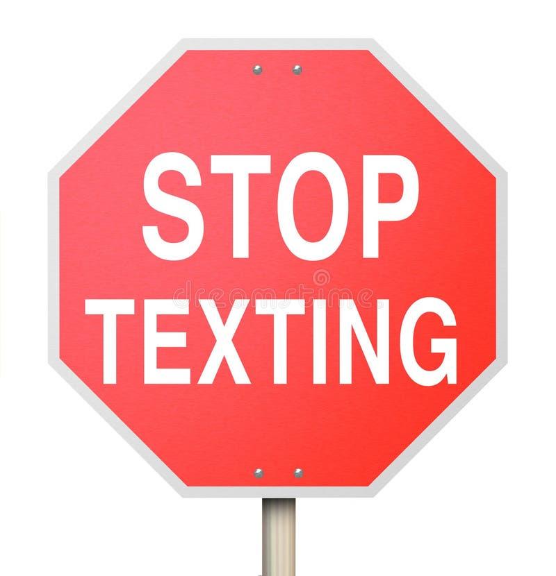 Pare el mandar un SMS de la conducción amonestadora del texto del peligro de la señal de tráfico roja ilustración del vector