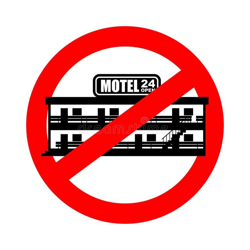 Pare el motel Mini hotel de la prohibición Señal de tráfico prohibitoria roja Vector IL ilustración del vector