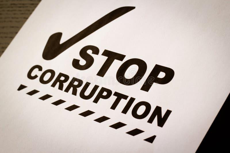 Pare el papel de la corrupción imágenes de archivo libres de regalías