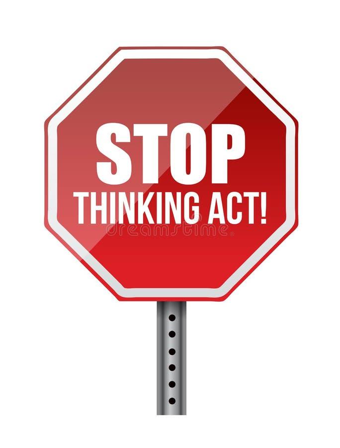 Pare el pensar de la muestra del acto stock de ilustración