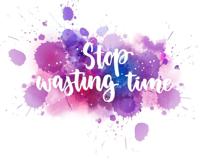 Pare el perder de caligrafía handlettering del tiempo stock de ilustración