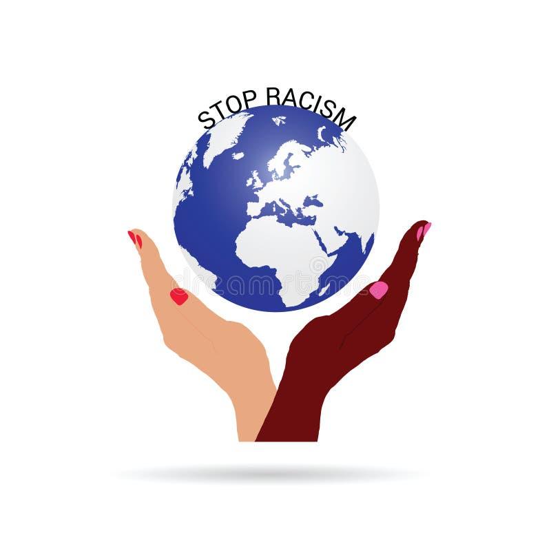 Pare el racismo con el ejemplo de la tierra del planeta stock de ilustración
