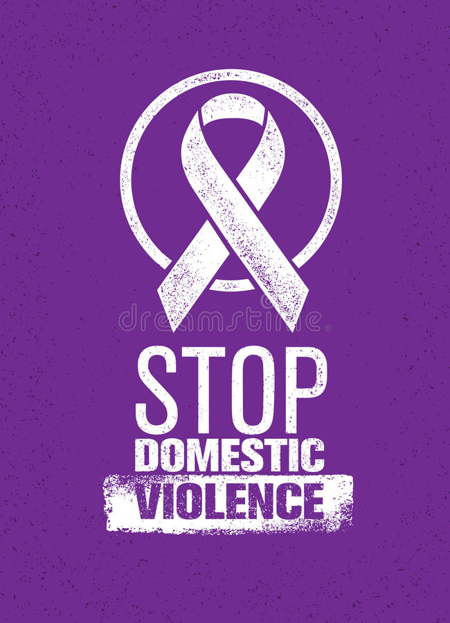 Pare el sello de la violencia en el hogar Concepto social creativo del elemento del diseño del vector libre illustration