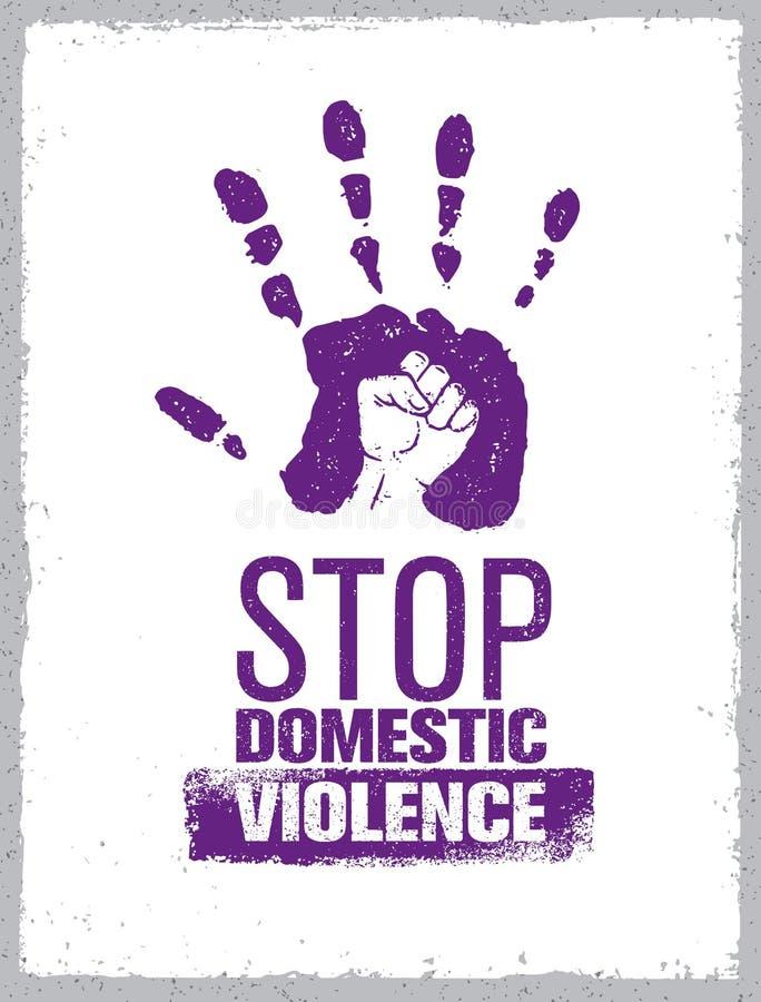 Pare el sello de la violencia en el hogar Concepto social creativo del elemento del diseño del vector Impresión de la mano con el stock de ilustración