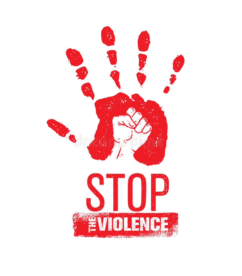 Pare el sello de la violencia en el hogar Concepto social creativo del elemento del diseño del vector Impresión de la mano con el libre illustration