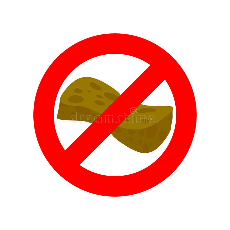 Pare a esponja velha Proibe-se para usar a esponja para lavar Vermelho ilustração stock