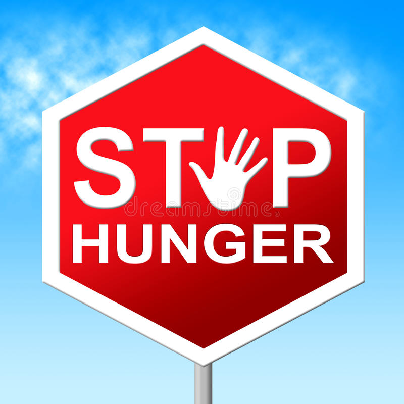 Pare a falta dos meios da fome do alimento e advirta-a ilustração do vetor