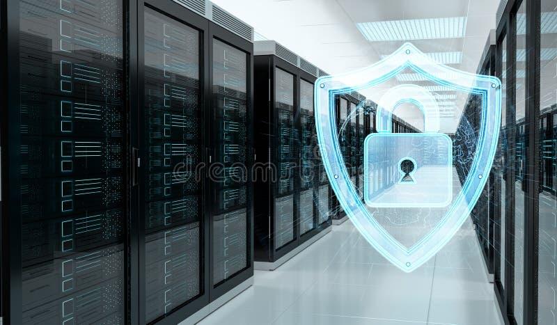 Pare-feu activé sur le rendu du centre de traitement des données 3D de pièce de serveur illustration stock