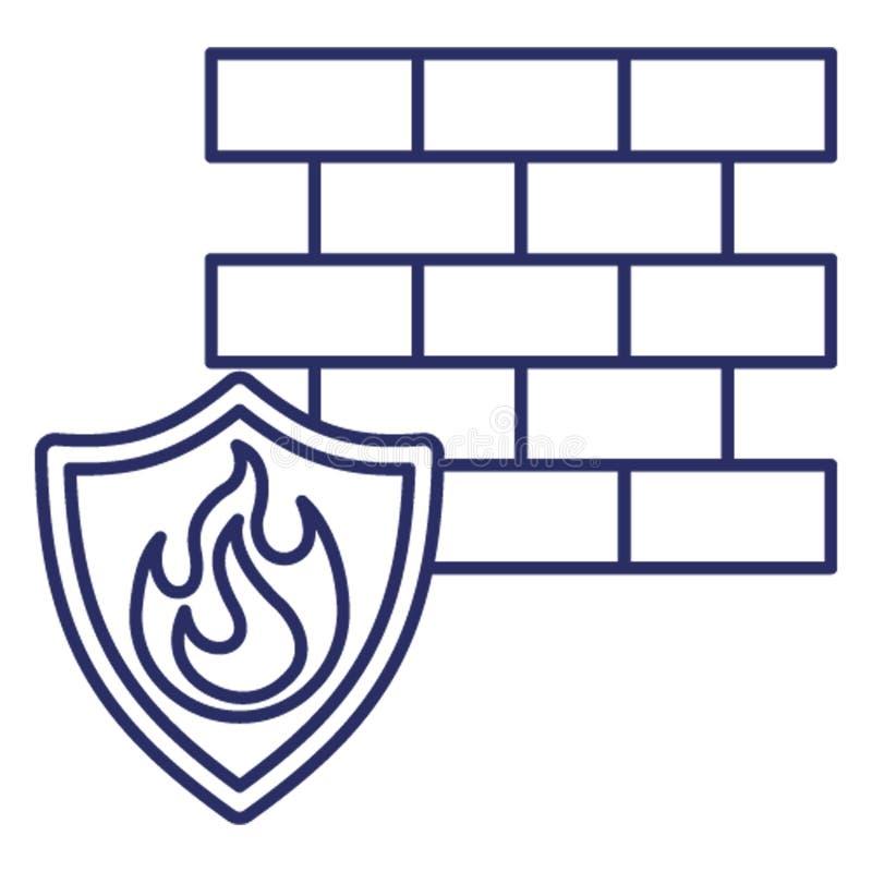 Pare-feu d'antivirus, icône de vecteur de brûlure de données qui peut facilement modifier ou éditer illustration stock