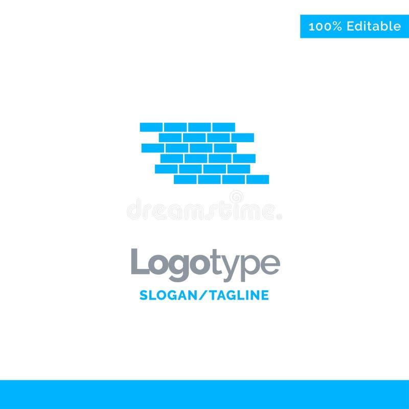 Pare-feu, sécurité, mur, brique, briques Logo Template solide bleu Endroit pour le Tagline illustration stock