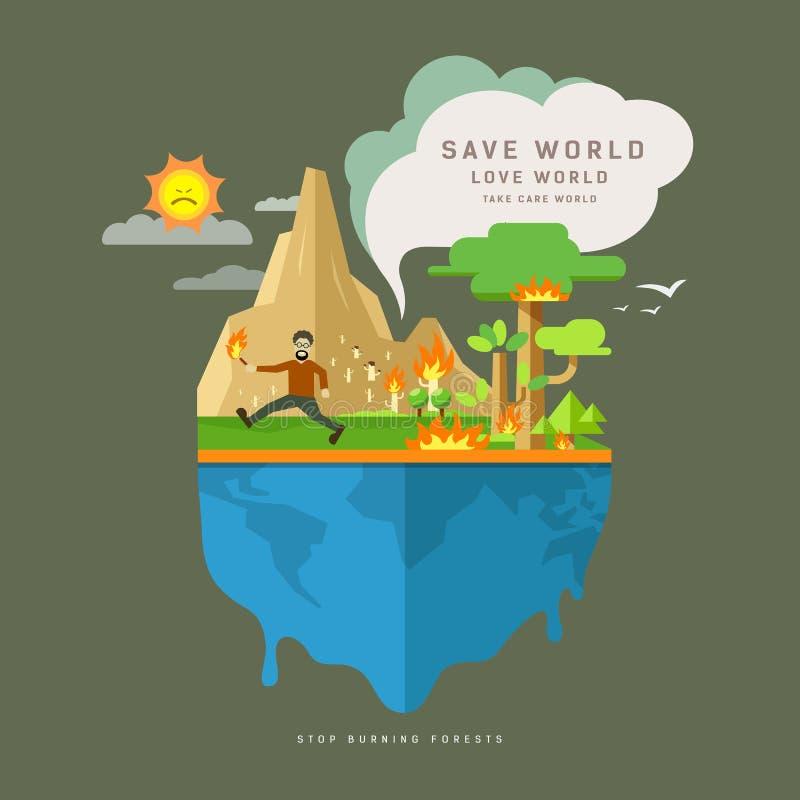 Pare florestas ardentes no globo, projeto de conceito liso ilustração stock