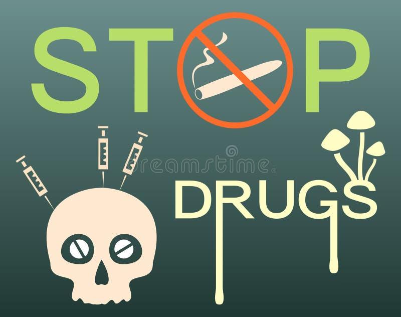 Pare la bandera de las drogas stock de ilustración
