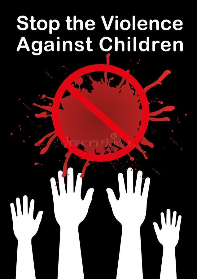 Pare la bandera del vector de los niños de la violencia, cartel del concepto, vector de las manos stock de ilustración