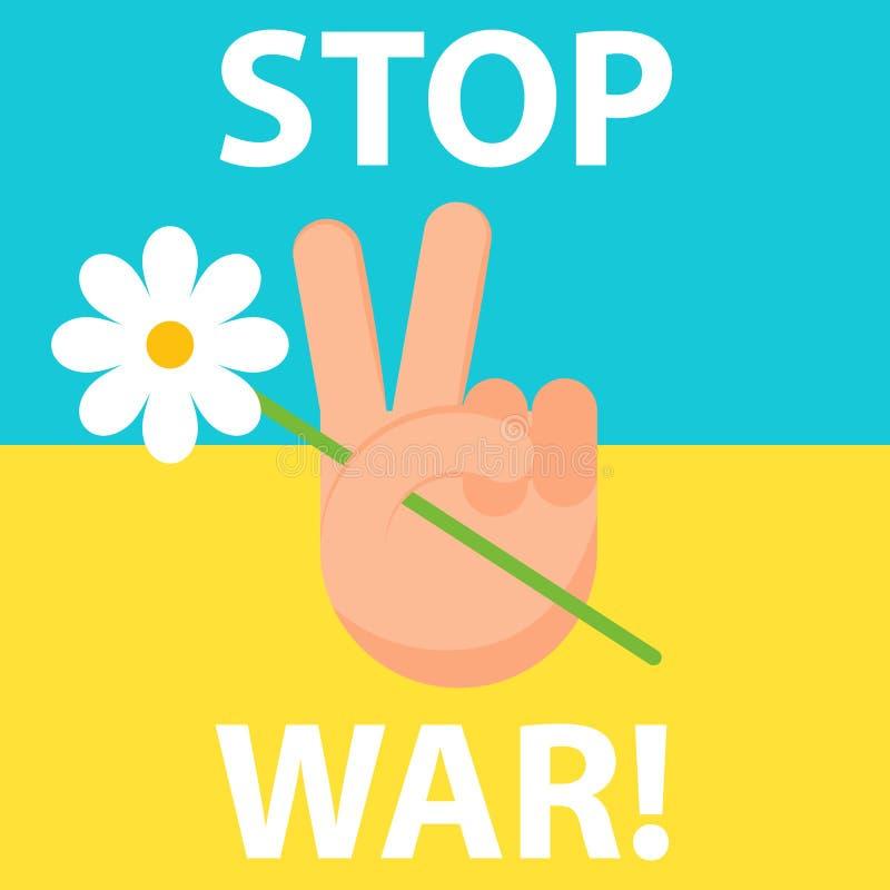 Pare la guerra ucrania Paz stock de ilustración