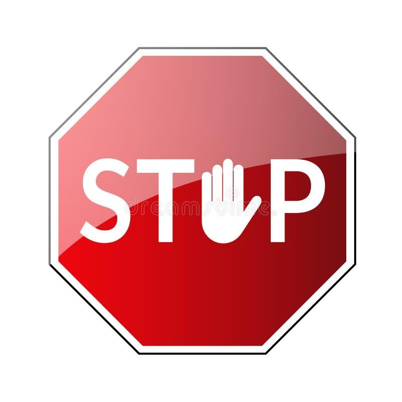 Pare la muestra de camino Icono amonestador prohibido Palma en octágono rojo Muestra de la parada del camino con la mano aislada  ilustración del vector