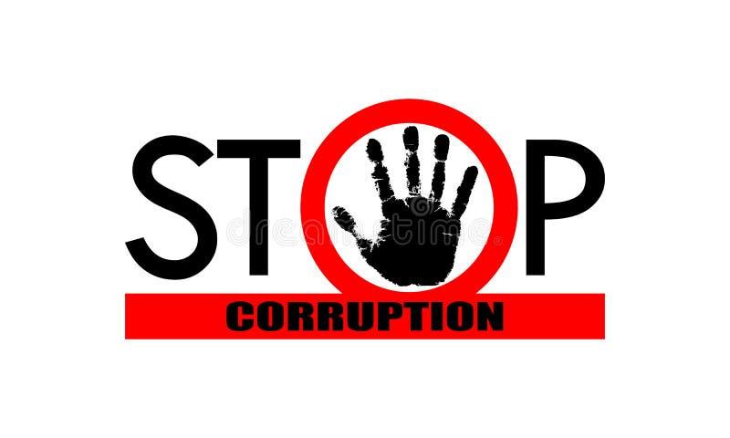 Pare la muestra de la corrupci?n ilustración del vector