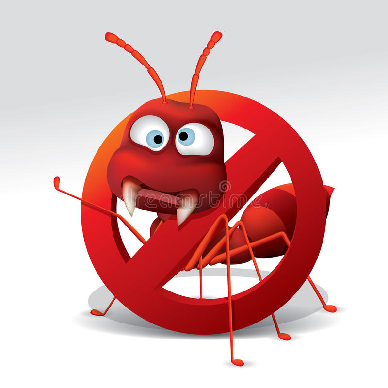 Pare la muestra de la hormiga stock de ilustración