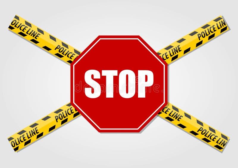 Pare la muestra y la línea de policía no cruza la cinta aislada en el fondo blanco Ilustración del vector ilustración del vector