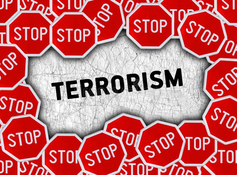 Pare la muestra y redacte el terrorismo stock de ilustración