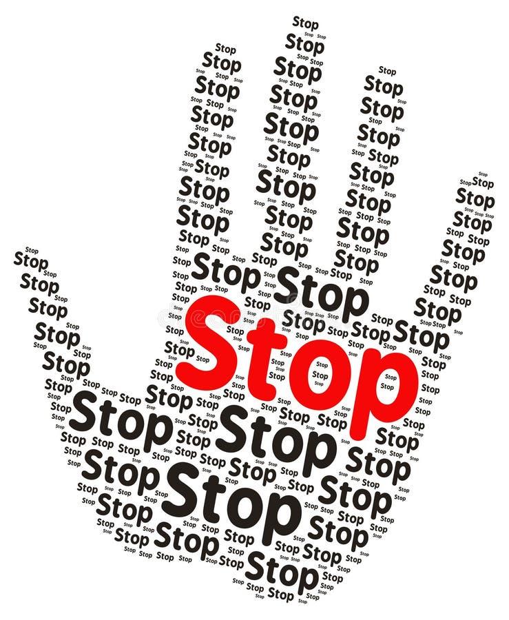 Pare la nube de la palabra en la forma de una palma abierta libre illustration
