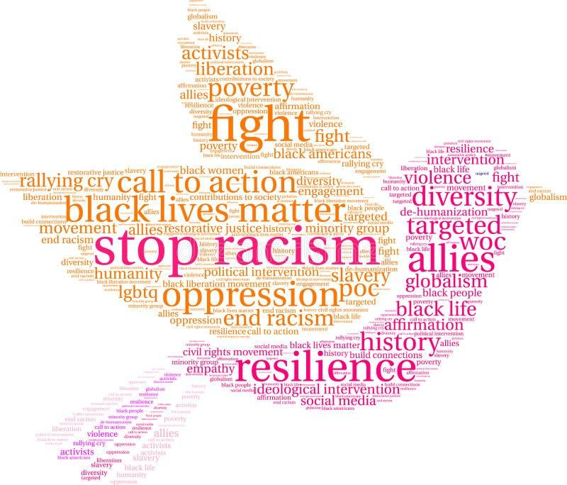 Pare la nube de la palabra del racismo stock de ilustración