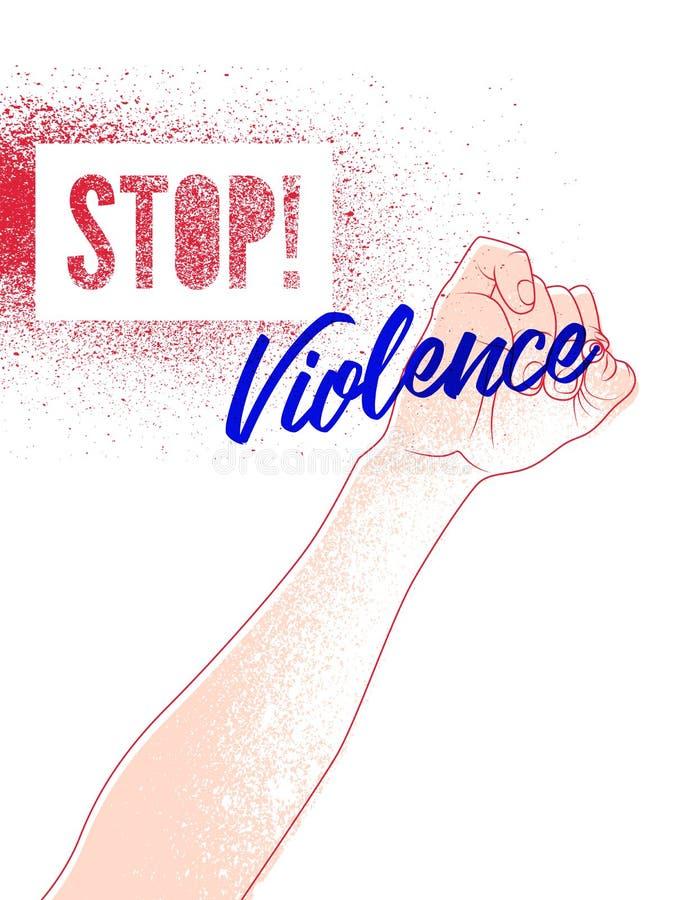 Pare la violencia Cartel retro tipográfico de la protesta de la plantilla del chapoteo del grunge Ilustración del vector stock de ilustración