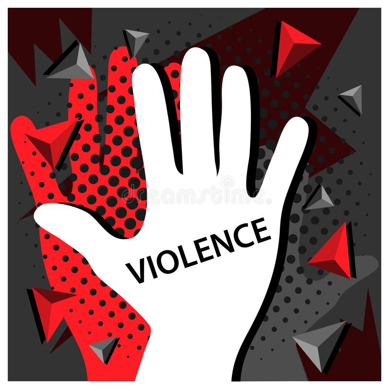 Pare la violencia con el ejemplo del icono del vector de la mano ilustración del vector
