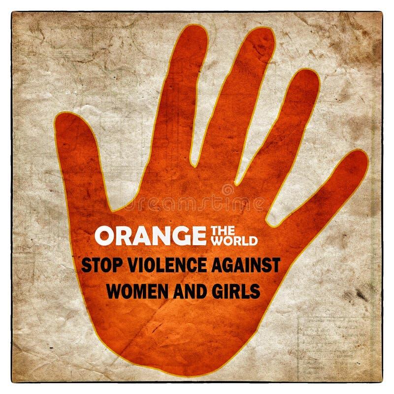 Pare la violencia contra el cartel de las mujeres ilustración del vector