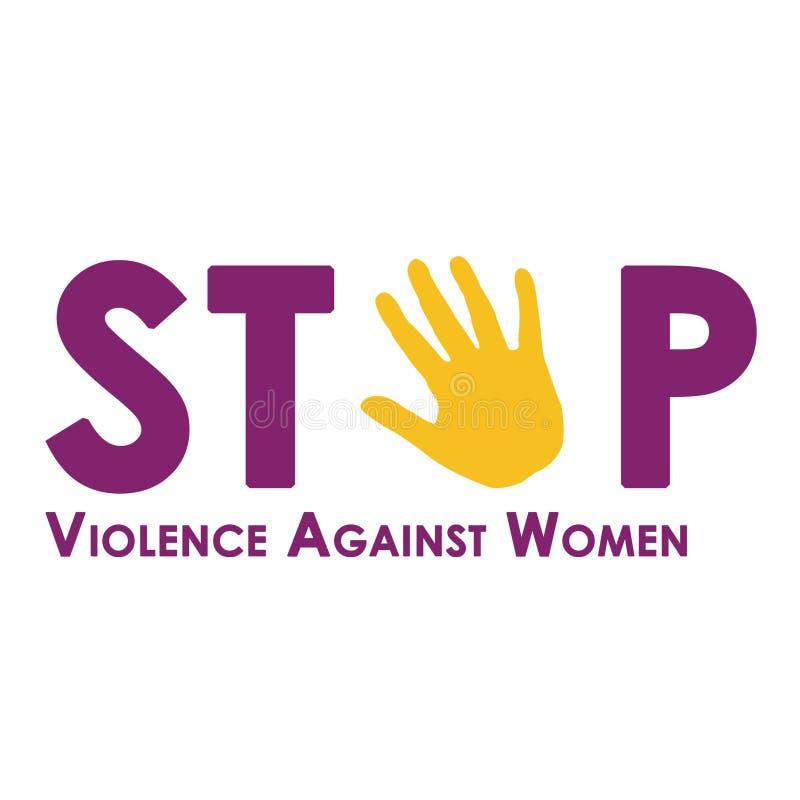 Pare la violencia contra las mujeres aisladas en blanco libre illustration