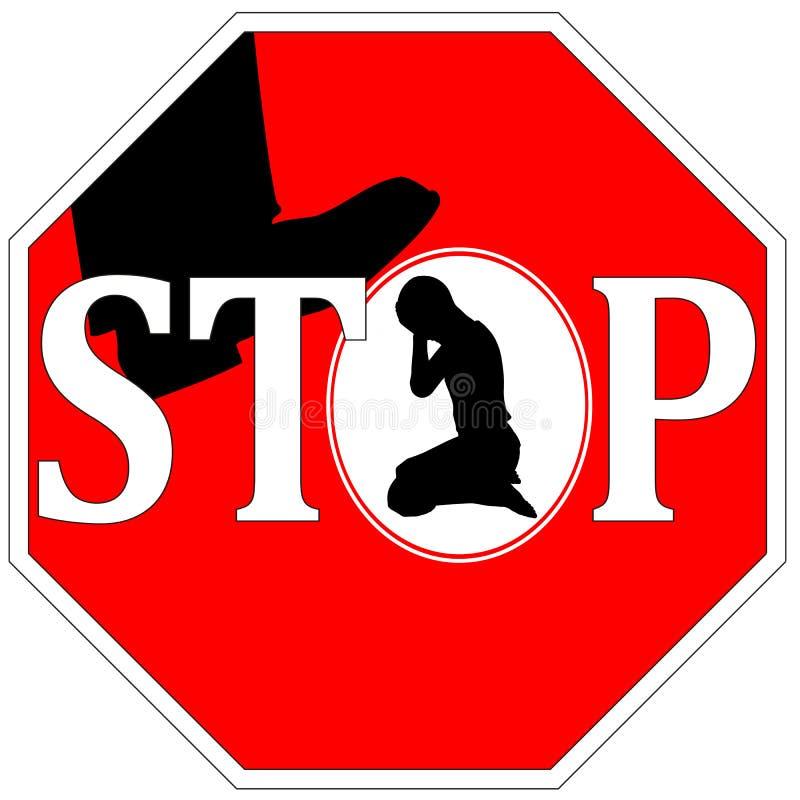 Pare la violencia contra mujeres ilustración del vector