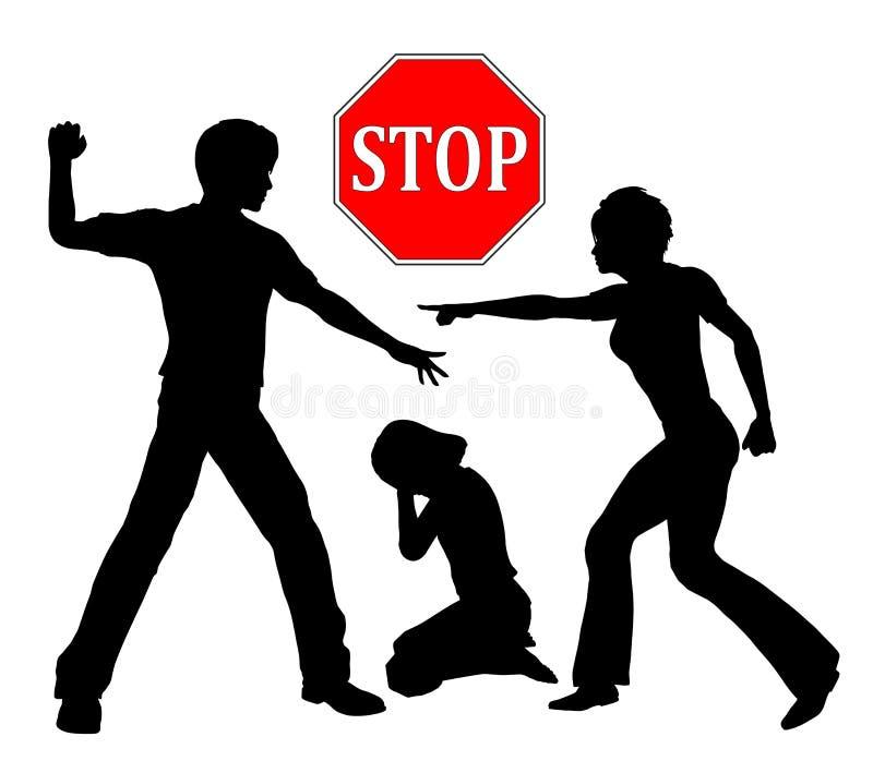 Pare la violencia contra niños stock de ilustración