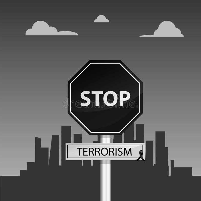 Pare la violencia del terrorismo y de la parada ilustración del vector
