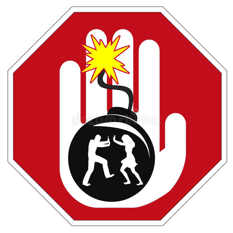 Pare la violencia en el hogar libre illustration