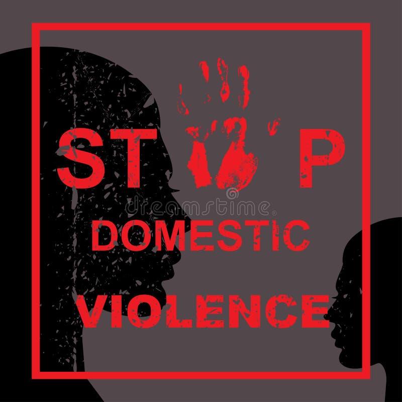 Pare la violencia en el hogar ilustración del vector