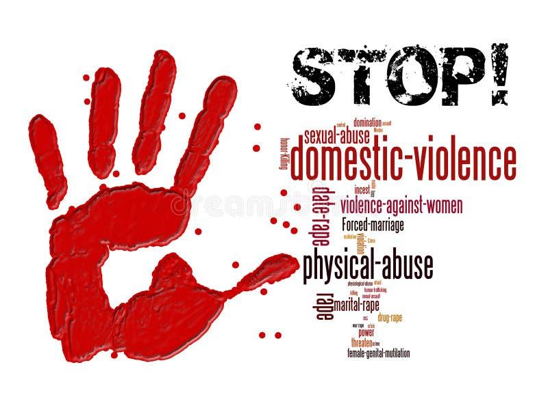 Pare la violencia en el hogar contra mujeres y muchachas stock de ilustración