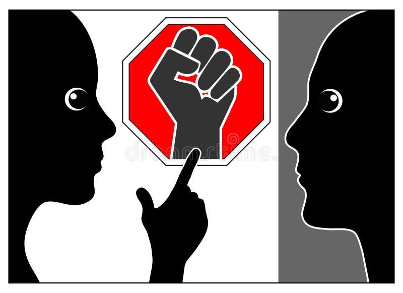 Pare la violencia en el hogar y abuse libre illustration