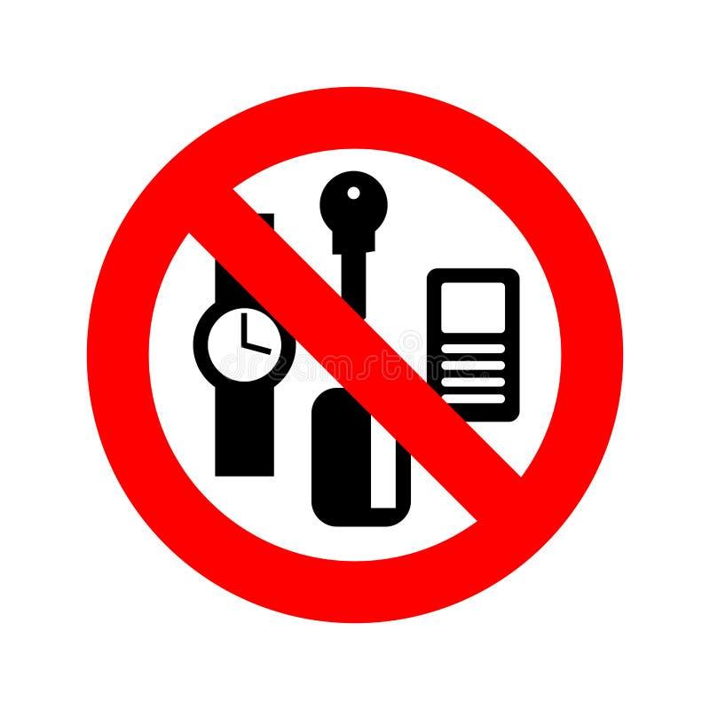 Pare las cosas personales Llaves y teléfono de la prohibición Tarjetas y relojes ilustración del vector