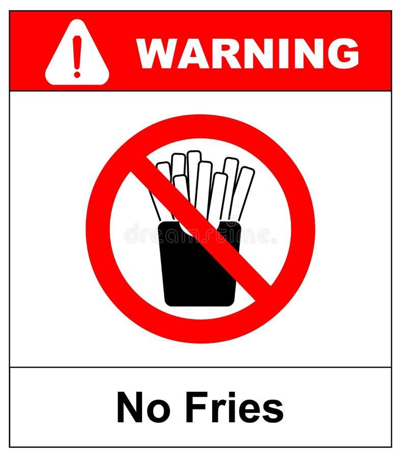 Pare las patatas fritas Alimentos de preparación rápida grasos de la prohibición Patatas cortadas en la caja de papel Emblema con libre illustration